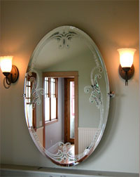 Antique Beveled Mirror with Abalone and Pearls